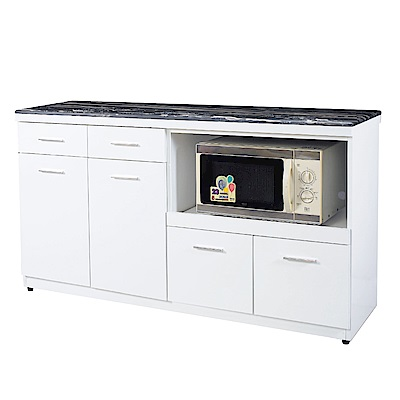 文創集 馬羅斯時尚白5尺雲紋石面餐櫃/收納櫃-151x47x85cm免組