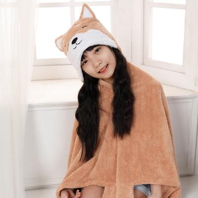 【MORINO摩力諾】動物造型速乾兒童連帽罩袍 披風 抱枕(柴犬) 附提袋