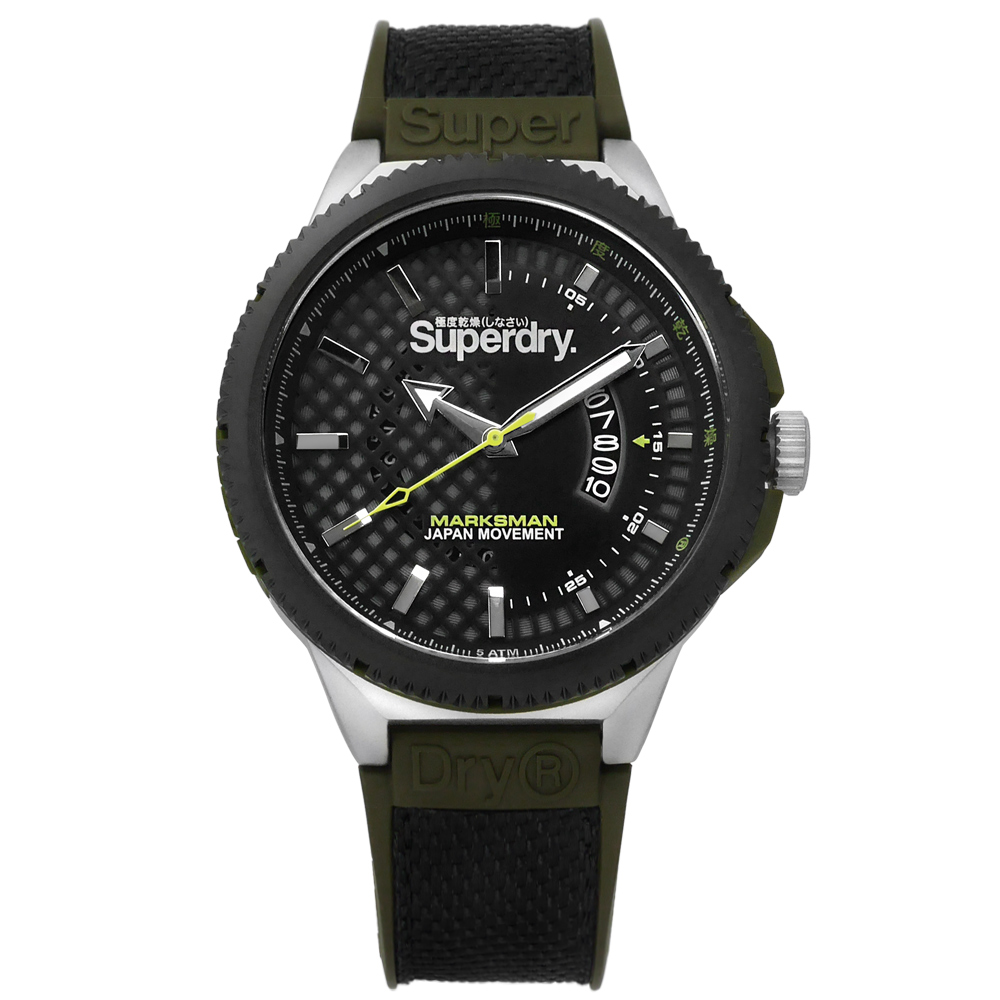 Superdry 極度乾燥 復古軍事日本機芯尼龍矽膠手錶-深灰x黑銀框x墨綠/45mm