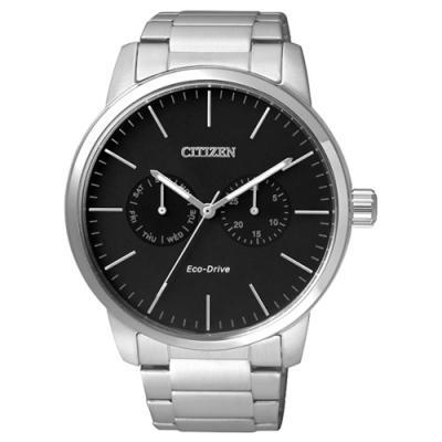CITIZEN Eco-Drive 領袖風範雙眼時尚錶-黑x銀-AO9040-52E-44mm