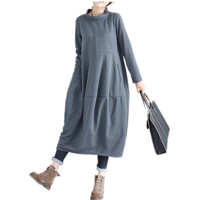 米蘭精品 連身裙長袖洋裝-秋季半高領純色休閒女裙子4色73xz38