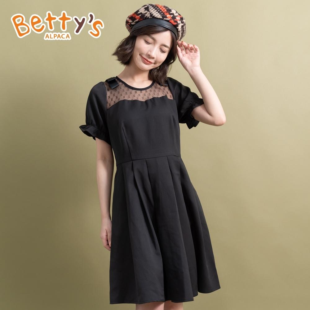 betty's貝蒂思 蕾絲拼接公主袖洋裝(黑色)