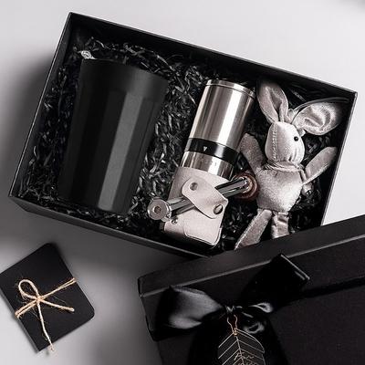 【PO:Selected】丹麥棱角保溫杯咖啡二件禮盒組(棱角保溫杯-黑/咖啡磨2.0)