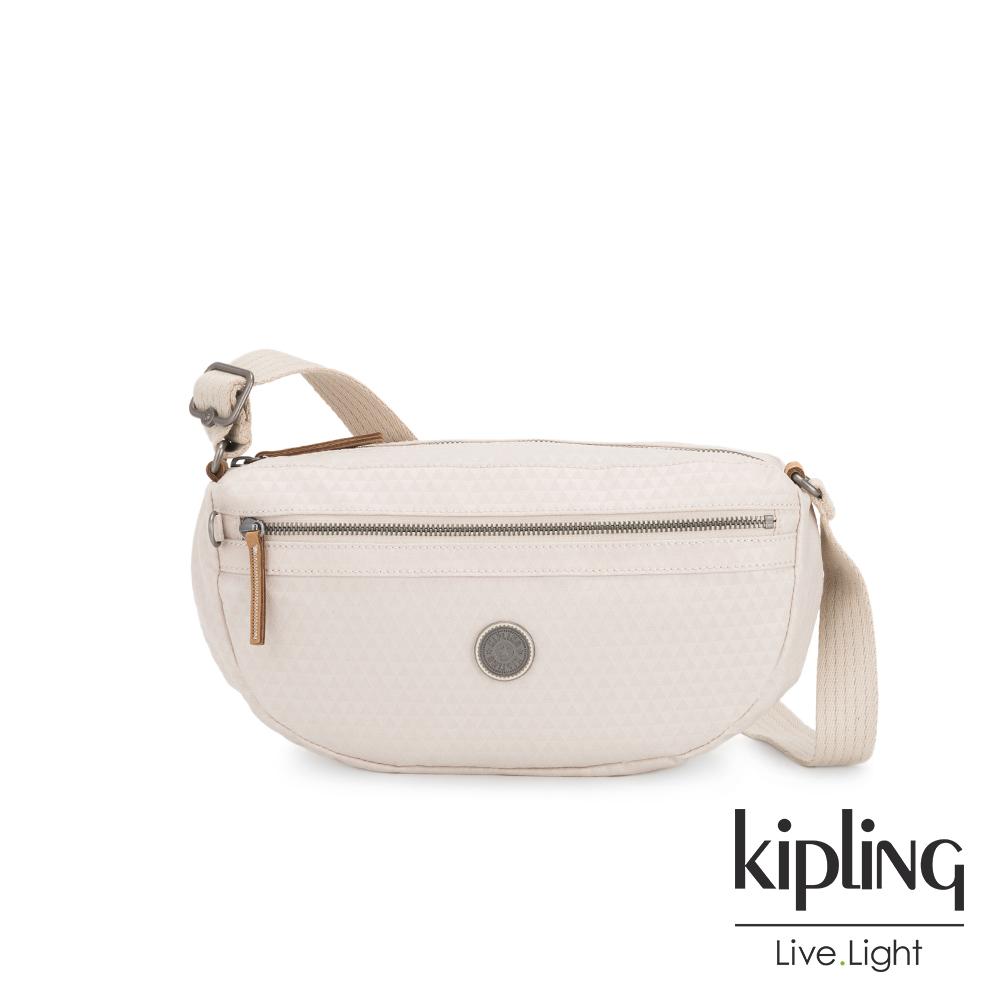 Kipling 低調米白菱格紋半月側背腰包-SENRA-EDGELAND系列