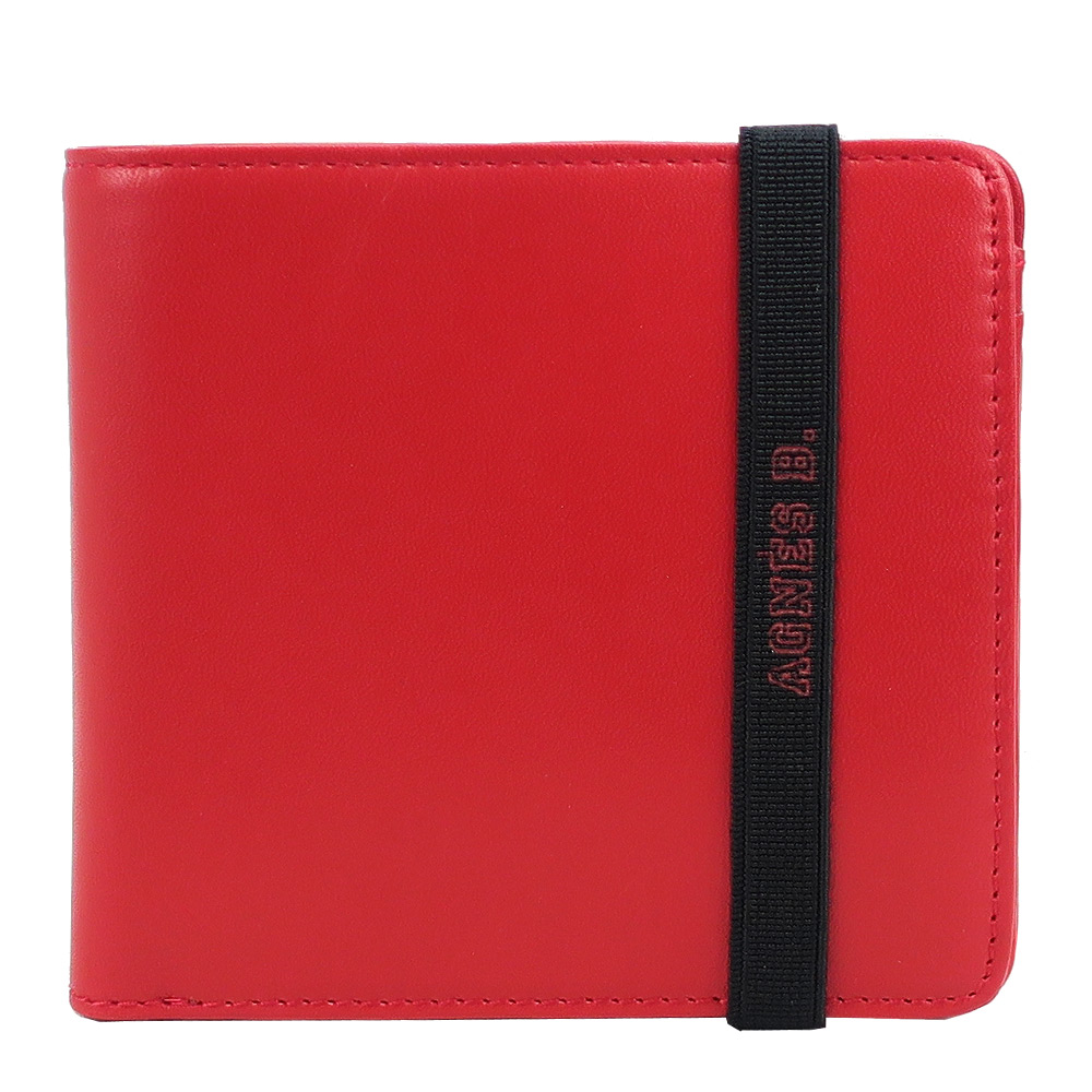 agnes b.LOGO束帶皮革短夾(內含零錢袋)(紅)