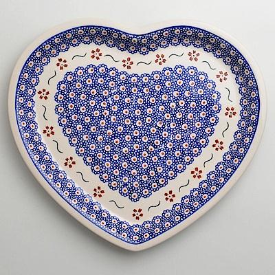 波蘭陶紅點藍花系列愛心造型餐盤波蘭手工製