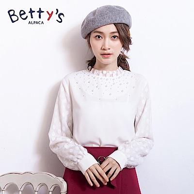 betty's貝蒂思 領口珠飾蕾絲雪紡上衣(白色)