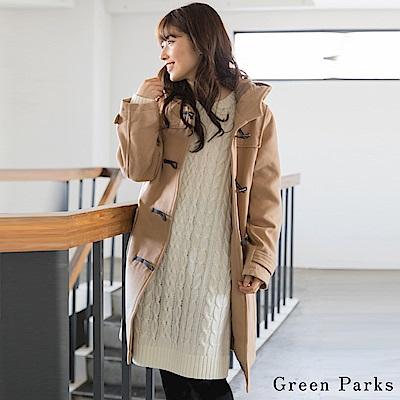 Green Parks 經典連帽牛角扣長版大衣外套