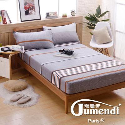 喬曼帝Jumendi 台灣製活性柔絲絨加大三件式床包組-英倫風情