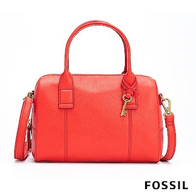 FOSSIL JORI 經典真皮手提+側背兩用波士頓包-紅色