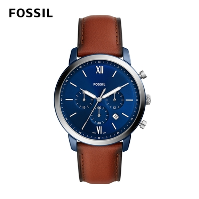 FOSSIL Neutra Chrono 新雅仕計時深藍手錶  咖啡色真皮錶帶 44MM FS5791