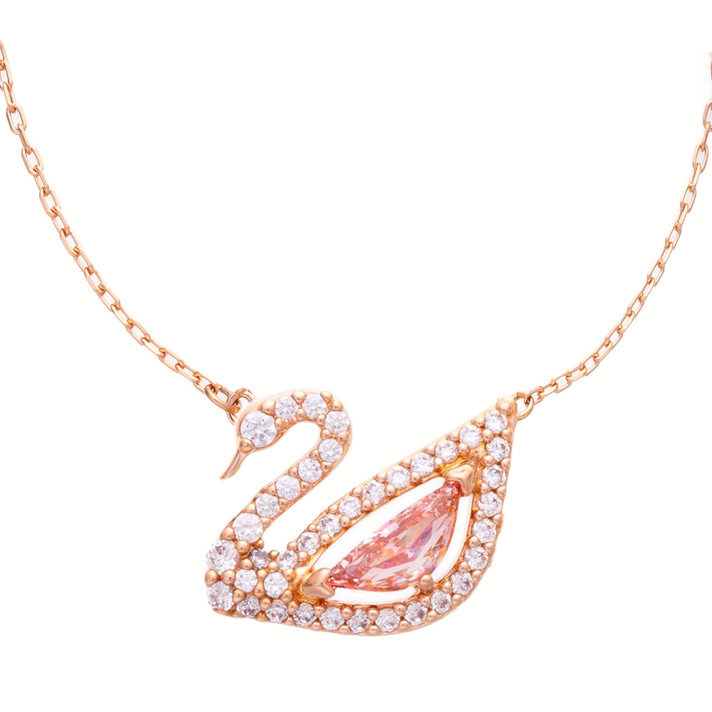 SWAROVSKI施華洛世奇 DAZZLING粉紅水晶項鍊