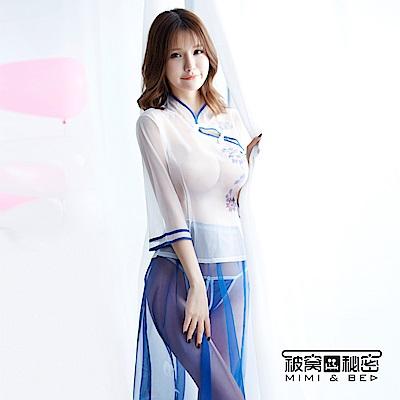角色扮演服 靚麗青春民國風印花透紗學生服。藍白 被窩的秘密