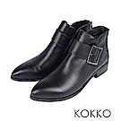 KOKKO -冬日暖意牛皮貼腿顯瘦短靴-質感黑