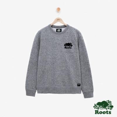 男裝Roots 芝麻灰系列刷毛圓領上衣-灰色