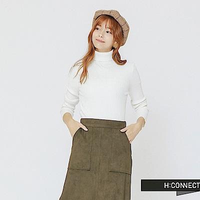 H:CONNECT 韓國品牌 女裝-高領坑條針織上衣-白