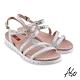 A.S.O 時尚流行 夏季輕量條帶燙鑽休閒涼鞋-銀 product thumbnail 1