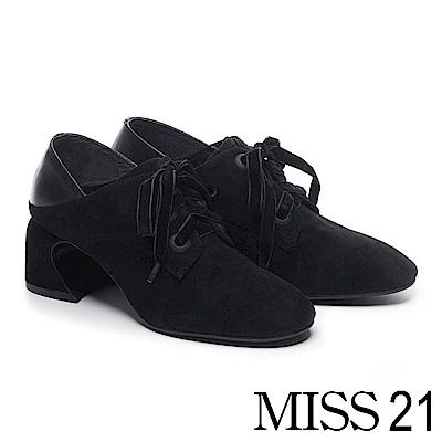 高跟鞋 MISS 21 復古文藝氣息異材質拼接綁帶馬蹄高跟鞋-黑