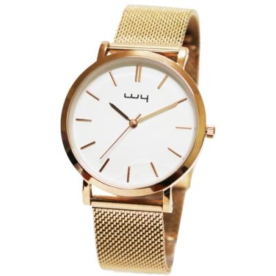 WY威亞簡約潮流米蘭玫帶中性錶-白色錶盤
