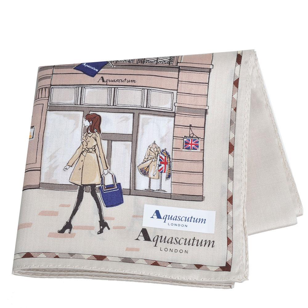 Aquascutum 倫敦風格時尚仕女品牌圖騰字母LOGO帕領巾(卡其系) @ Y!購物
