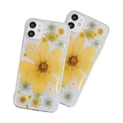 iPhone 12 透明 乾燥花 永生花 軟邊 手機殼 四邊 防摔 黃花 (iPhone12手機殼 iPhone12保護殼 )