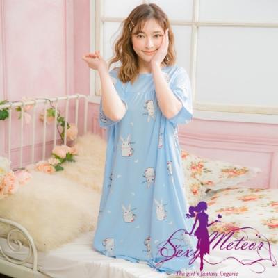 睡衣 大尺碼 牛奶絲兔兔長版短袖連身裙睡衣(童趣藍) Sexy Meteor