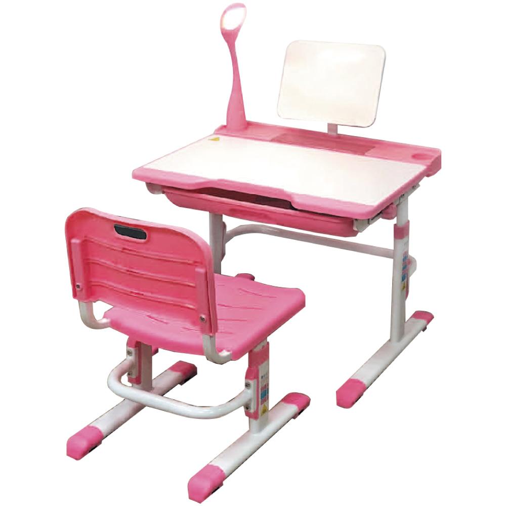 綠活居 米特2.3尺可調式兒童書桌組(二色+護眼燈+兒童椅)-70x51x54cm免組
