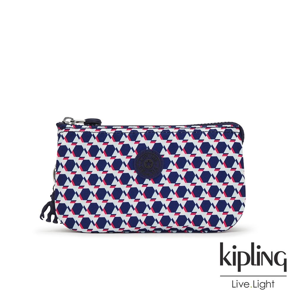 Kipling 典雅幾何印花三夾層配件包-CREATIVITY L