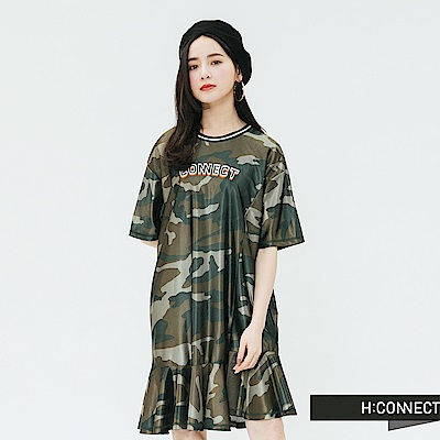 H:CONNECT 韓國品牌 女裝-印字迷彩魚尾洋裝-綠