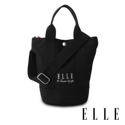ELLE 周年限定版-極簡風帆布手提/斜背水桶包-黑色 EL52371