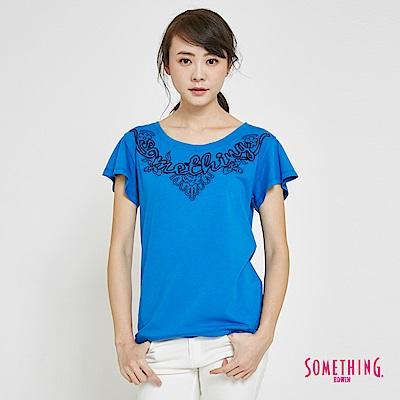 SOMETHING 繩股繡船領造型短袖T恤-女-藍色