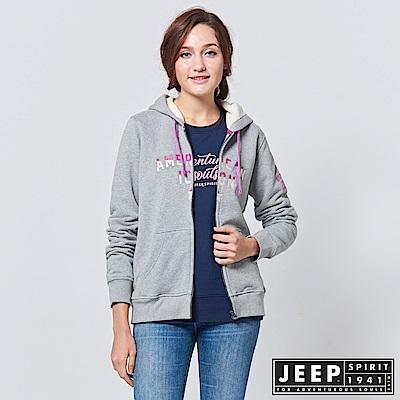JEEP 女裝 運動風漸層刺繡長袖外套 -灰色