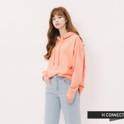 H:CONNECT 韓國品牌 女裝 - 彩圖文字抽繩帽T-粉