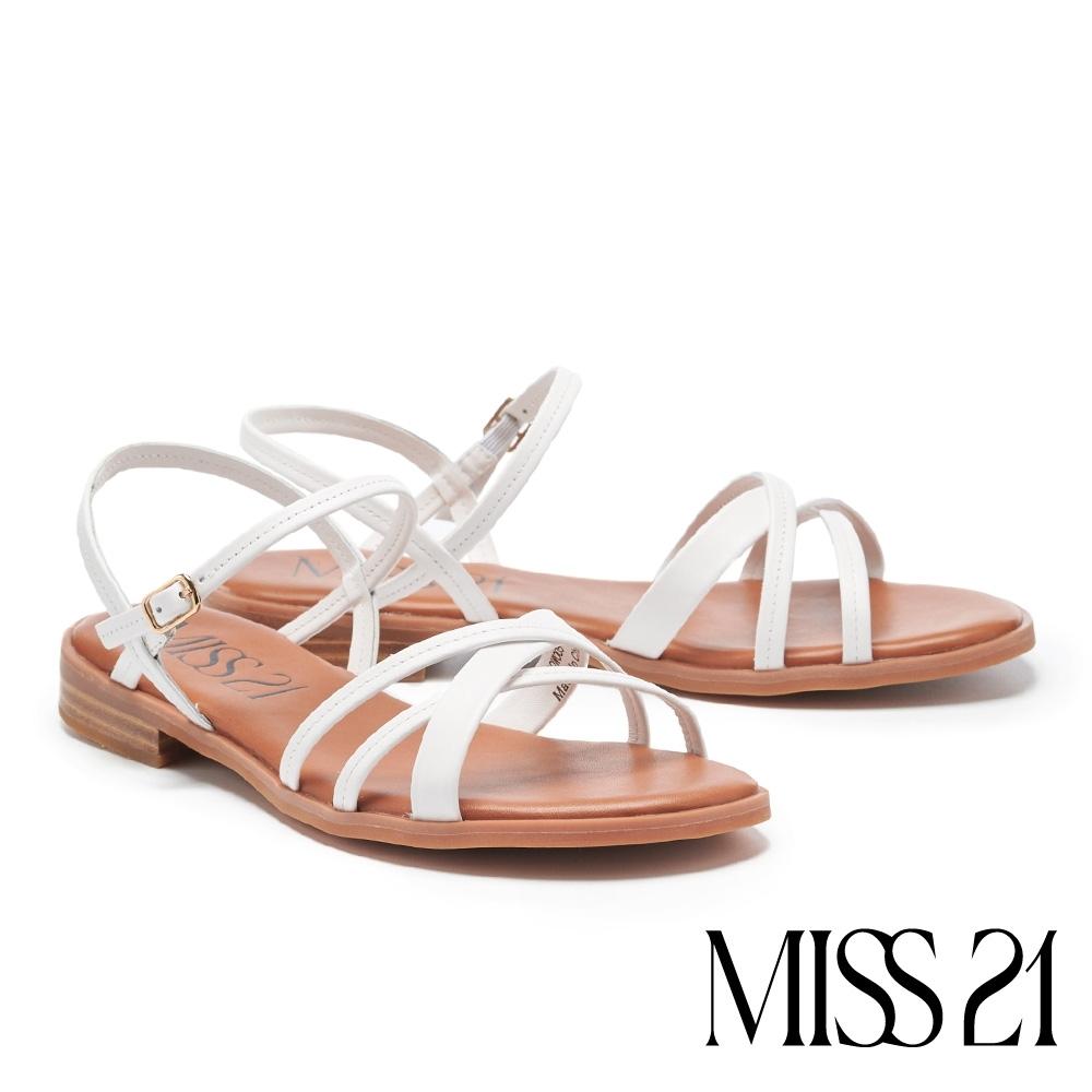 涼鞋 MISS 21 隨性法式條帶牛皮低跟涼鞋-白