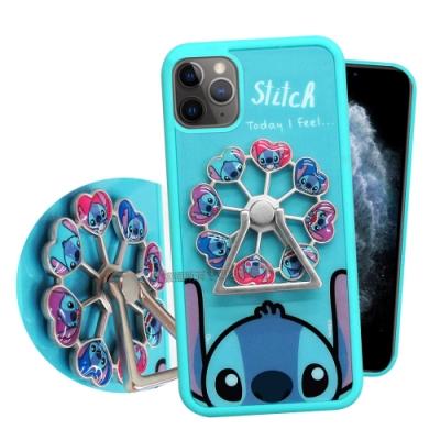 迪士尼iPhone 11 Pro Max 6.5吋 摩天輪指環扣防滑支架手機殼(史迪奇)