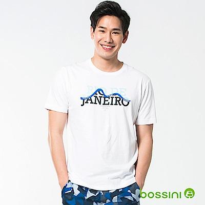 bossini男裝-印花短袖T恤41白