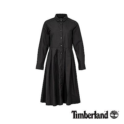 Timberland 女款泥炭色鈕扣長襯衫連衣裙|B3406