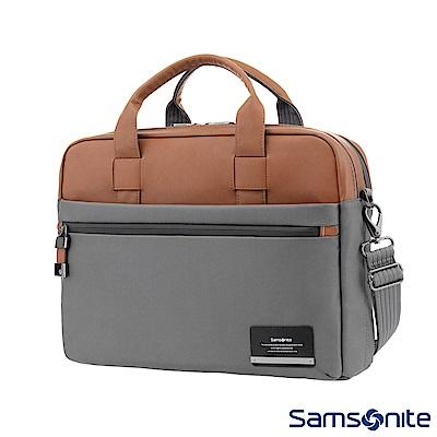 Samsonite新秀麗 Vestor商務保護隔層筆電公事包M(灰/棕黃)