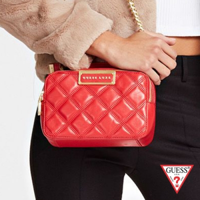 GUESS-女包-菱格紋時尚方形手提鍊條包-紅