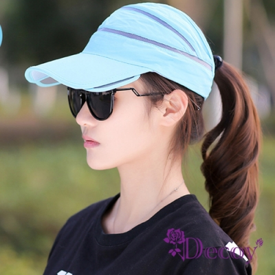 Decoy 伸縮帽沿 運動中性鏤空防曬遮陽帽 天藍