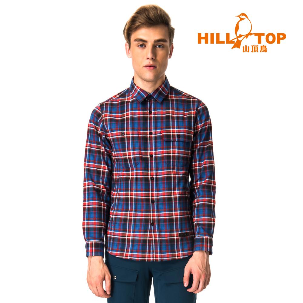 【hilltop山頂鳥】男款ThermoTech保暖長袖襯衫C05M24丈青紅格