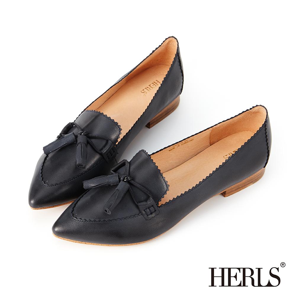 HERLS 典雅品味 全真皮蝴蝶結流蘇低跟鞋-藍黑色