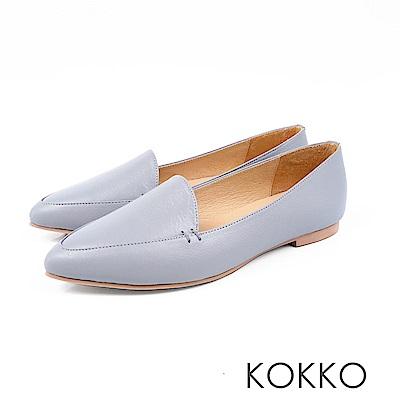 KOKKO -勇敢前進吧尖頭柔軟彎折樂福鞋-碧天藍