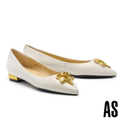 低跟鞋 AS 低調奢華鍍金 LOGO 尖頭低跟鞋-米