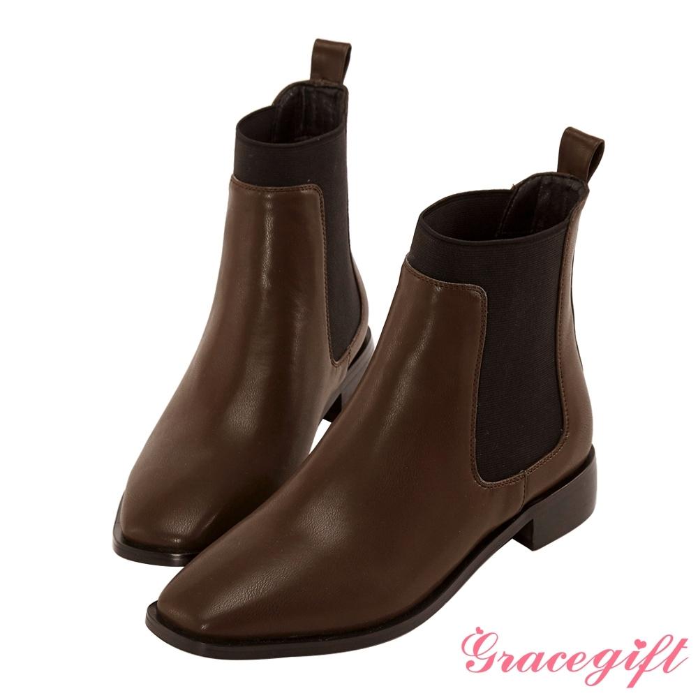 Grace gift-方頭切爾西低跟短靴 咖