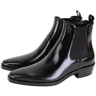 PRADA Spazzolato 漆亮小牛皮短靴(女款/黑色)