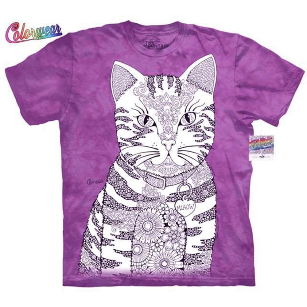 摩達客-美國進口ColorWear 貓咪喵喵 禪繞畫療癒藝術 環保短袖T恤(現貨)