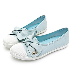 PLAYBOY微甜可愛蝴蝶結亮蔥便鞋藍-Y6205FF
