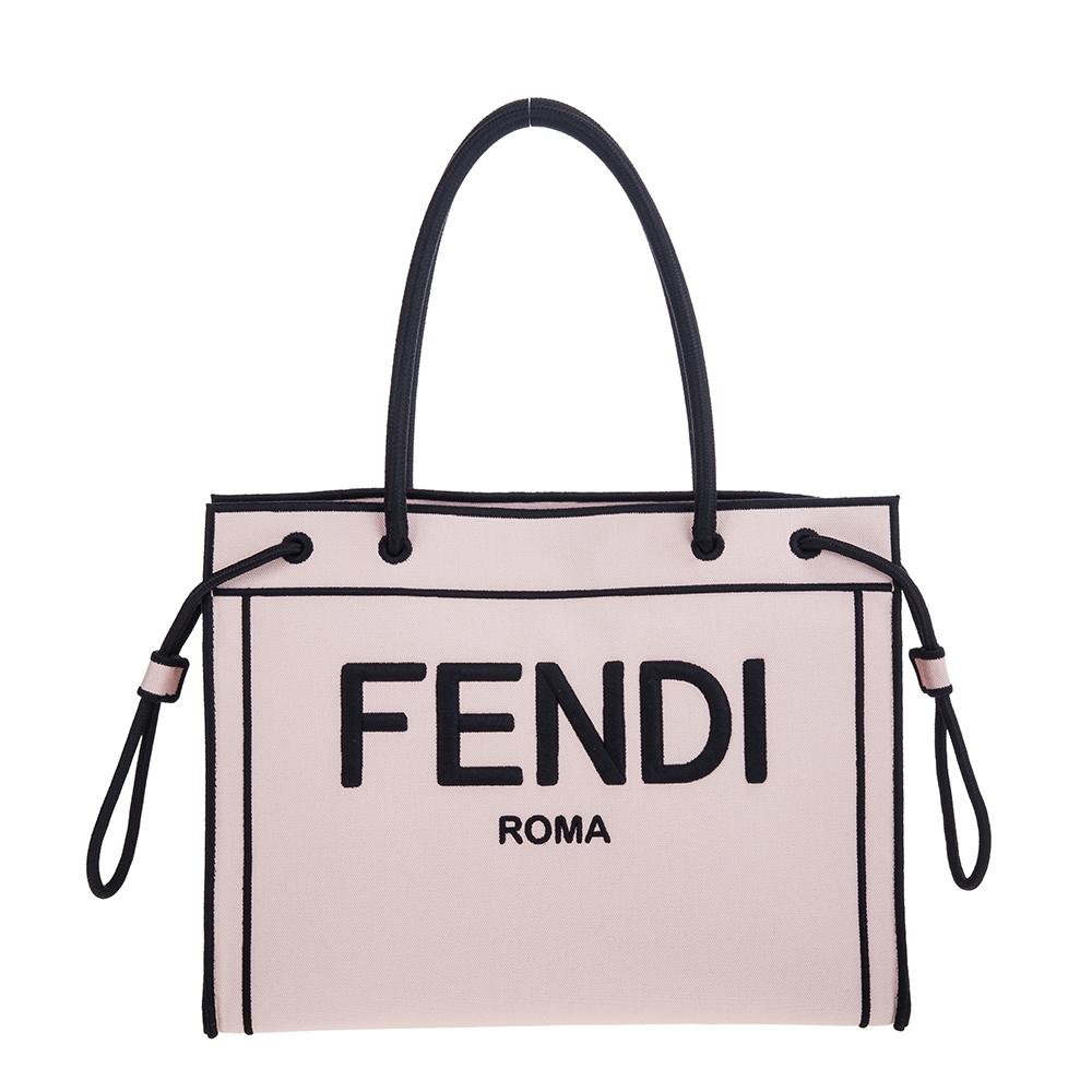 FENDI 新款霧粉刺繡黑字FENDI標誌帆布ROMA手提/肩背包 (中款)