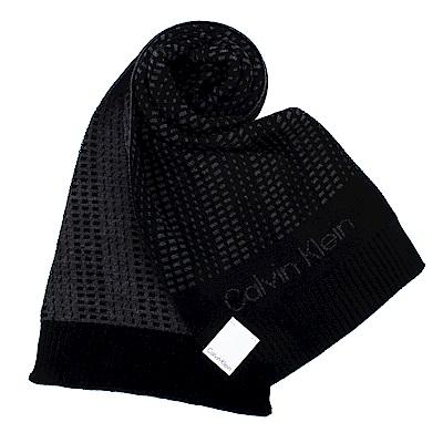 Calvin Klein CK 極線動感個性LOGO針織圍巾-黑色